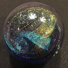 Glass Eye Studio Celestial Paperweight Northern Lights Blue Dichroic Art Glass