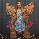Sculpture Gryphon for stairs Wood Carved statue figure artwork 3D picture icon