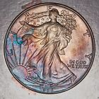 FIRST YEAR 1986 ASE American Silver Eagle MS Condition Deep Rainbow Color Toned