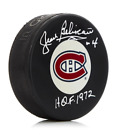Jean Beliveau Montreal Canadiens Autographed NHL Puck with HOF 1972 Note