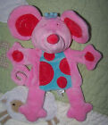 Manhattan Toy Plush Pink Hot Pink Blue Mouse Toy Hand Puppet EUC 10