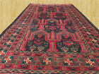 Amazing Hand Knotted Semi Antique Afghan Balouch Wool Rug Runner 8 x 4 Ft 3908