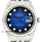 Mens Rolex Datejust Blue Vignette Diamond Dial 18K White Gold & Steel Watch