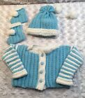 Hand Crochet Baby Boy Sweater 0 6 Mos Set Beanie Booties Blue White