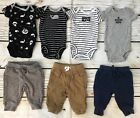 Lot Baby Boy Newborn NB Bodysuits Pants Carters Cat And Jack Nautical Pirate