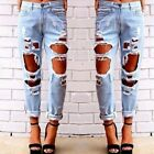 Vintage Hole Ripped Jean Mid Waist Casual Women Pant Cool Demin Loose For Girl