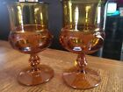 2 INDIANA Kings Crown THUMBPRINT VINTAGE Stemmed Footed GOBLETS Water Glass