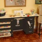 ARROW NORMA JEAN SEWING MACHINE CABINET WITH AIR LIFT BLACK WITH QUILT LEAF