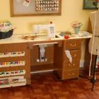 ARROW NORMA JEAN SEWING MACHINE CABINET WITH AIR LIFT OAK WITH QUILT LEAF