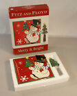 FITZ AND FLOYD Holiday HAPPY SNOWMAN SNACK PLATE w/ CHRISTMAS TREE SPREADER NIB