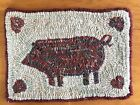 Hand Made Primitive Style Hooked Rug Folk Art Pig with Hearts
