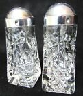 Set Vtg Anchor Hocking EAPC Star Design Salt Pepper Shakers Clear Pressed Glass
