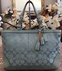 Coach Signature Aqua Blue Carryall Canvas Leather Tote Shoulder Bag 6830 278