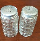 Vintage Anchor Hocking Salt Pepper Shakers Clear Waffle Square Glass USA