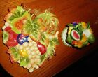 Fitz and Floyd Carioca Fruit Candle Holder and Leaf Shaped Dish Plate Fruits