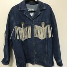 Pioneer Wear Denim Jean Jacket Concho  Leather Detachable Fringe Sz 14 MADE USA