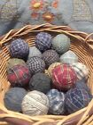 Primitive Country Farmhouse Rag Balls Assorted Colors Bowl Fillers Lot of 18