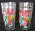 Pair VTG Drinking Glasses Red Flowers Yellow Fruit Design Peaches Pears SWANKY