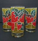 3 Vintage Stained Glass Style Strawberry Drink Glasses Tumblers 12 Ounces 5 1/2