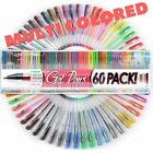 Gel Pens Pen Set 60 Colors For Adult Glitter Coloring Books Writing Drawing Art