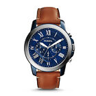 FOSSIL FS5151 Grant Chronograph Blue Stainless Steel Brown Band 45mm Men's Watch