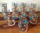 Lot of Vintage~Libbey~Turquoise and Gold~Glasses~Highball, Lowball, Stemmed~EVC