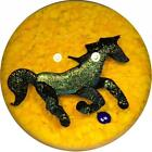 Signed Lewis Wilson Art Glass Paperweight Lampwork Dichroic Horse on Yellow