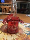 Fenton Cranberry Hand Painted Limited Edition Top Hat Basket Bill Fenton Signed