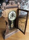 ANTIQUE WATERBURY CLOCK 19th C Oak ALL ORIGINAL WORKING W key