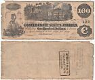 1862 $100 Confederate States Note T-39 Cr-290 Straight Steam