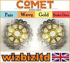 COMET Pair Gold Wavy Front Brake Discs Hyosung Comet GT 650 Naked 07-08 W962GD