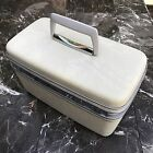 Vintage Samsonite Silhouette Pearl White Marbled Makeup Train Case w/ key + tray
