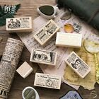 Old newspaper Series Wooden Mounted Rubber Stamp Making Diary Decoration Diy