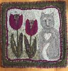 Hand Made Primitive Style Hooked Rug Cat With Tulips Great Colors