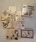 Lot 4 of New Gently Used Club Scrap Wood Mounted Rubber Stamps