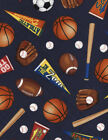 Timeless Treasures Mixed Sports Navy 100 cotton fabric by the yard