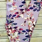 Pink Purple Leaves Floral Leggings Buttery Soft ONE SIZE OS