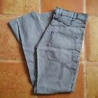 VINTAGE Elk Brand White Blue Striped Cinch Back Jeans Pants NOS 30 x 31