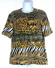 Additions by Chicos Top Size 1 Medium Animal Print Full Zip Shirt Stretch
