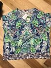 Lilly Pulitzer Hartwell Top L XL Multi Color Blue Green Pink