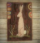 PRIMITIVE WOOL HOOKED RUG/ FOLK RABBIT/ BUNNY/ HARE WITH LAMB TONGUES