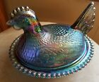 Vintage Indiana Blue Iridescent Carnival Glass Chicken Hen on Nest Dish