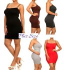 PLUS SIZE CAMI MINI DRESS SEAMLESS BodyCon Tight Long camisole Tank Top 1X, 2X