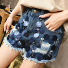 Women Denim Cotton Short Summer Mid Waist Vintage Ripped Hole Hollow Out Jean