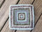 Hand Made Primitive Style Hooked Rug candle mat table mat hit miss beach colors