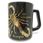 Vintage Federal Glass SCORPIO Zodiac Astrology Coffee Mug Black Gold Milk Glass
