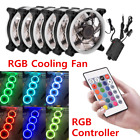3 6 Pack RGB LED Quiet Computer Case PC Cooling Fan 120mm w Remote Control Lot