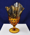 Vintage Fenton Art Glass Colonial Amber Thumbprint Handkerchief Swung Vase