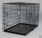 Extra Large 48 Folding Pet Dog Cage Crate Kennel With Plastic Pan Black 358