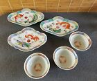 Old Important Qianlong Iron Red (3) Footed Dishes and (3) Bowls Bats Dragon
